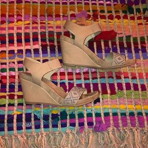 Shoes - Nude Wedges with Bead Detail
